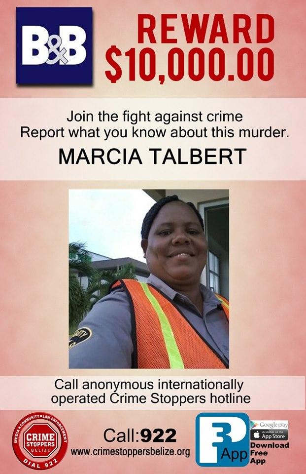 REWARD: For information about murder of Marcia Talbert