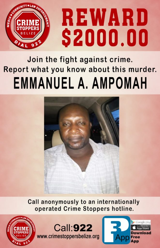 REWARD: For information about murder of Emmanuel A. Ampomah