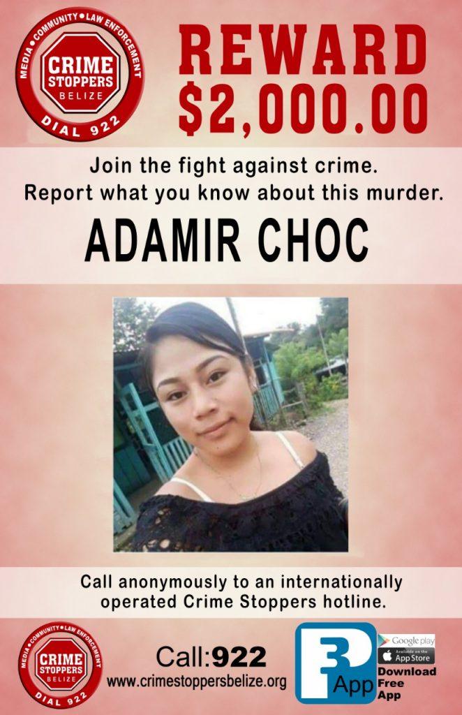 REWARD: For information about the murder of Adamir Choc