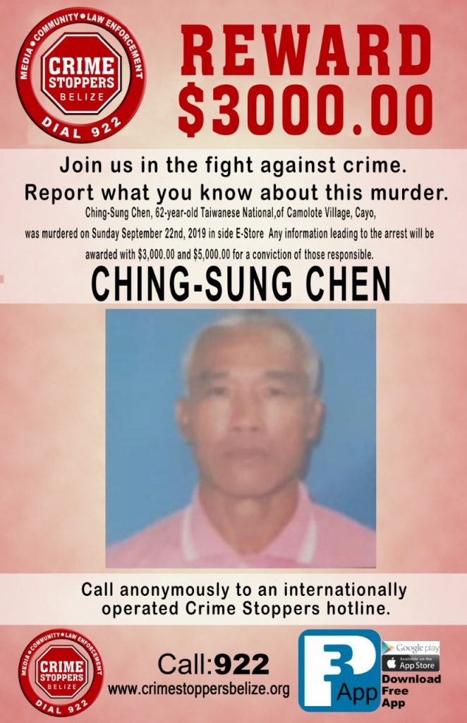 REWARD: For information about the murder of Ching-Sung Chen