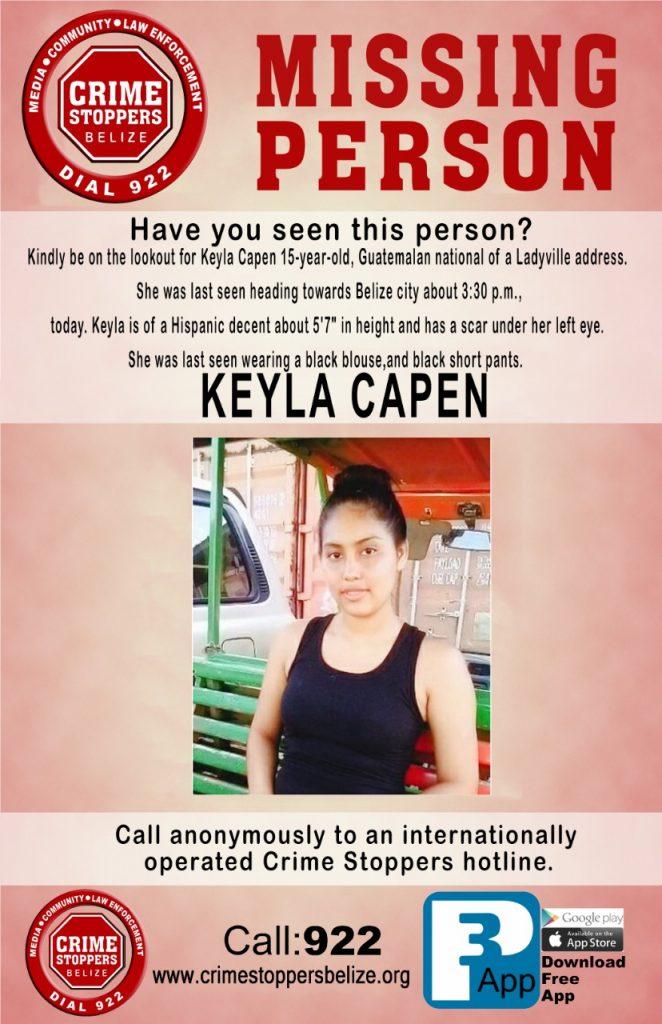 MISSING PERSON: Keyla Capen