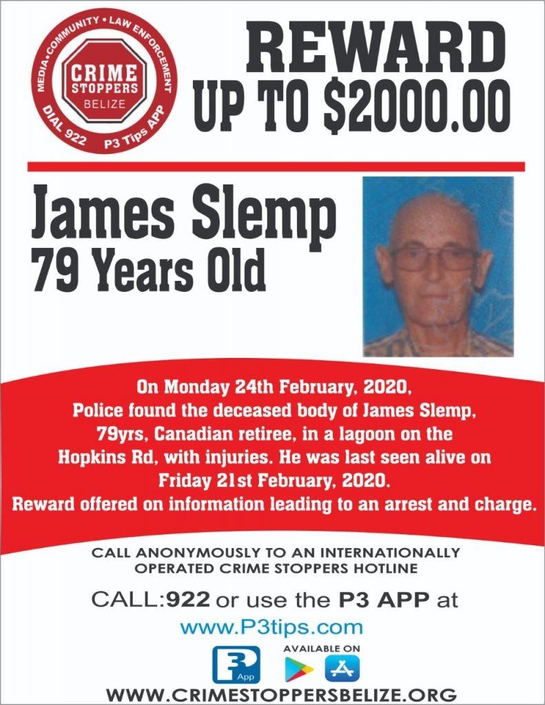 REWARD: For information about the murder of James Slemp