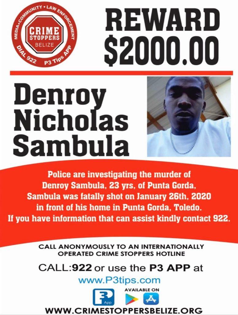 REWARD: For information about the murder of Denroy Nicholas Sambula