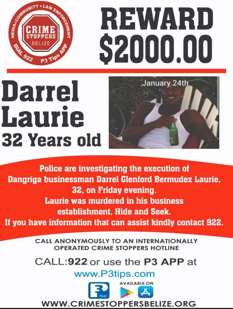 REWARD: For information about the murder of Darrel Laurie
