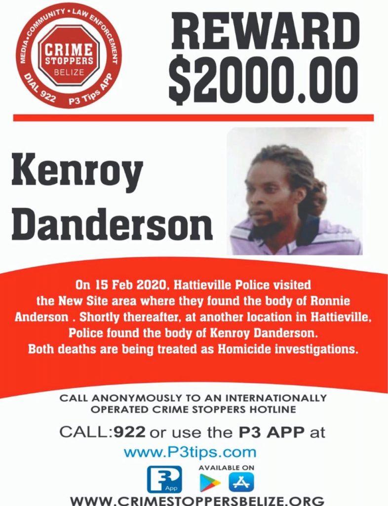 REWARD: For information about the murder of Kenroy Danderson