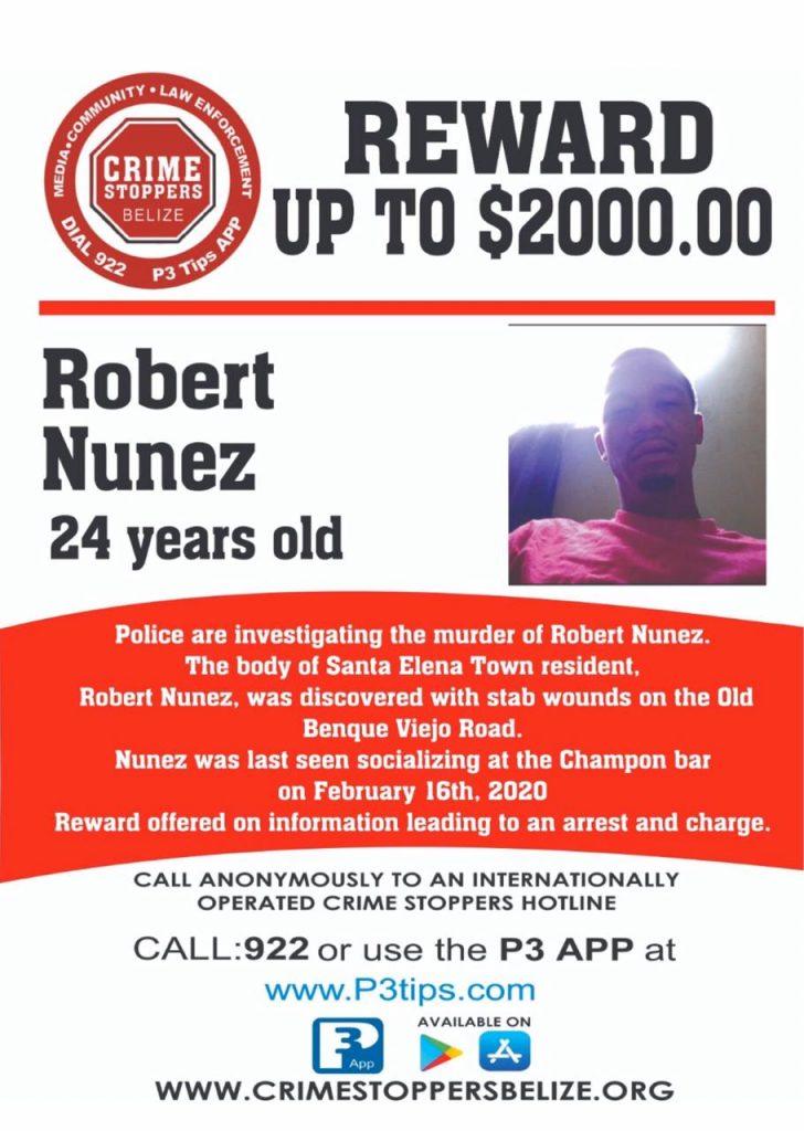 REWARD: For information about the murder of Robert Nunez