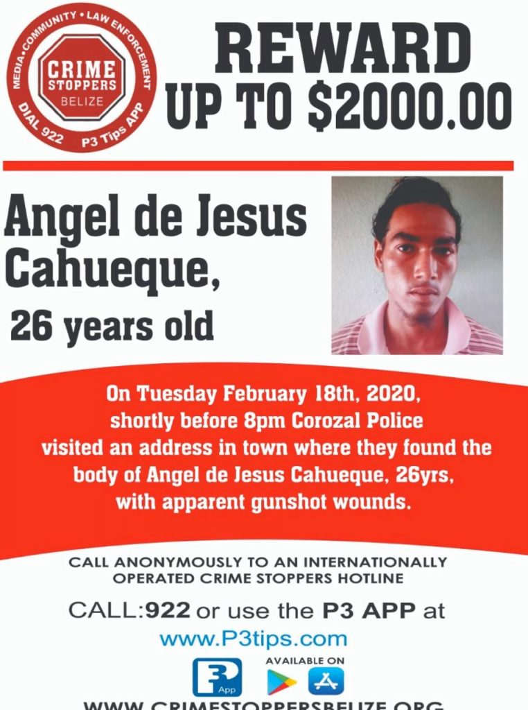 REWARD: For information about the murder of Angel de Jesus Cahueque