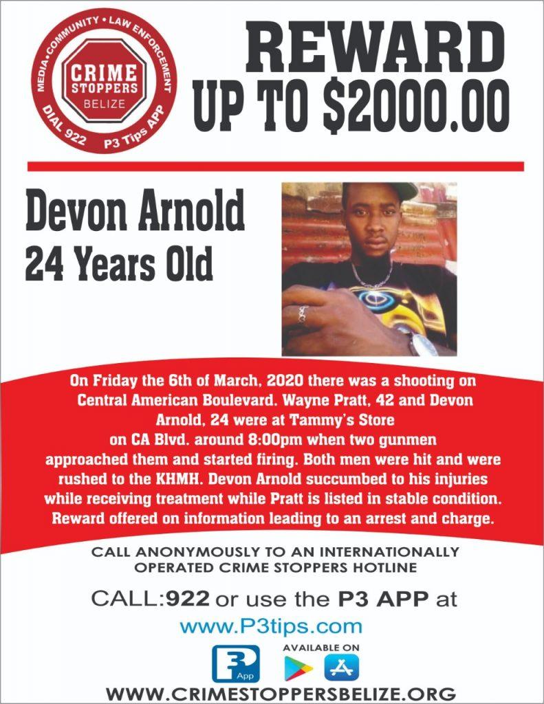 REWARD: For information about the murder of Devon Arnold