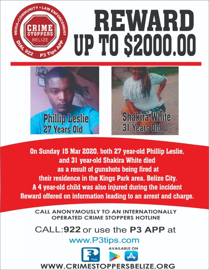 REWARD: For information about the murder of Phillip Leslie and Shakira White