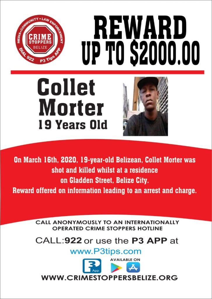 REWARD: For information about the murder of Collet Morter