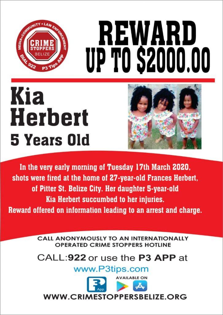REWARD: For information about the murder of Kia Herbert