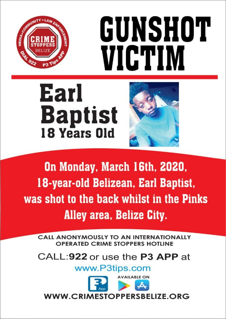REWARD: For information about the shooting of Earl Baptist