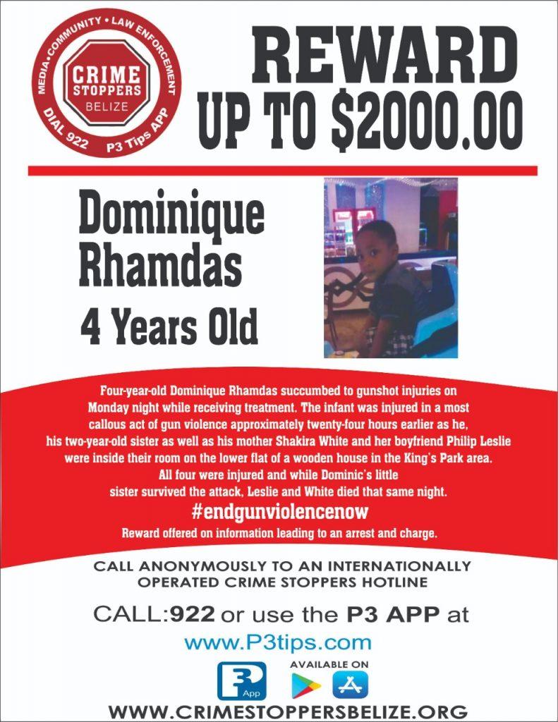 REWARD: For information about the murder of Dominique Rhamdas